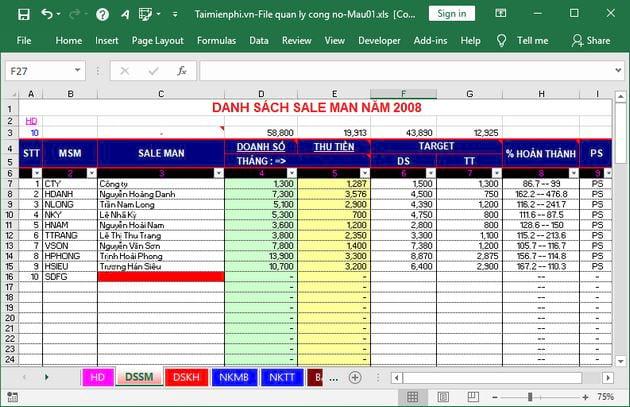 phần mềm quản lý công nợ bằng excel miễn phí