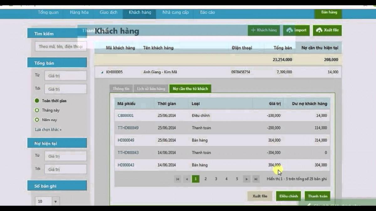 phần mềm quản lý công nợ