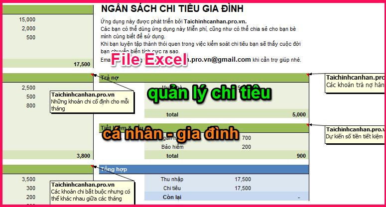 file excel quản lý tài chính cá nhân 1
