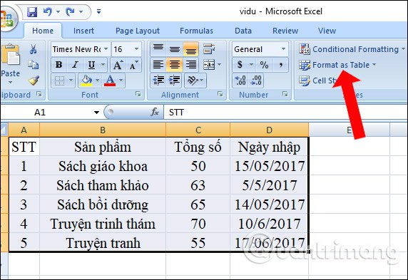 Nhấn chọn Format as Table