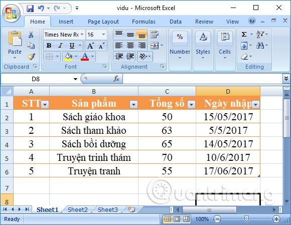 Bảng trên Excel