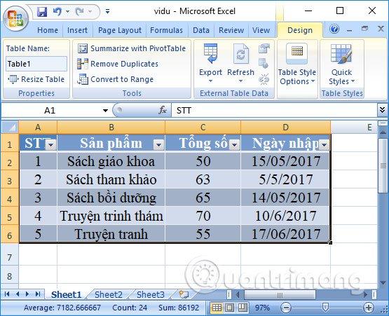 Bảng biểu trên Excel