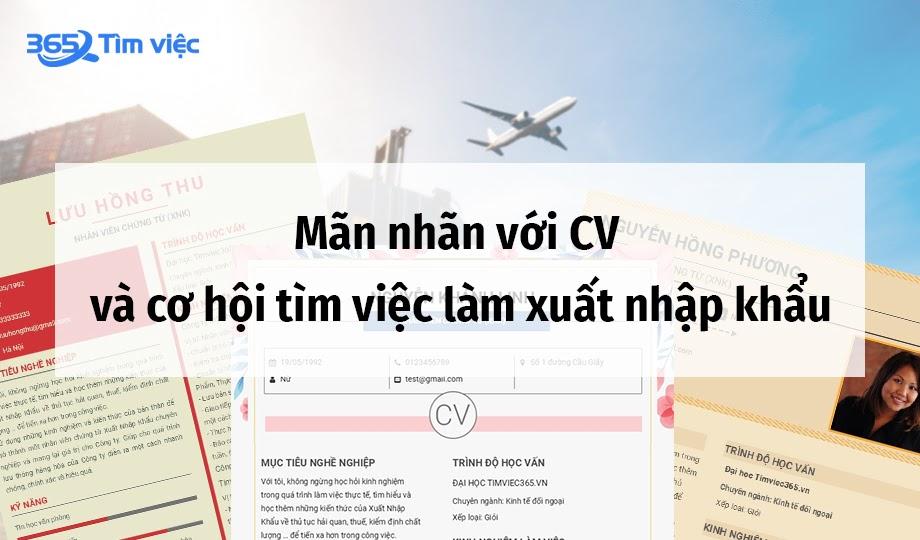 CV & việc làm xuất nhập khẩu trên Timviec365.vn