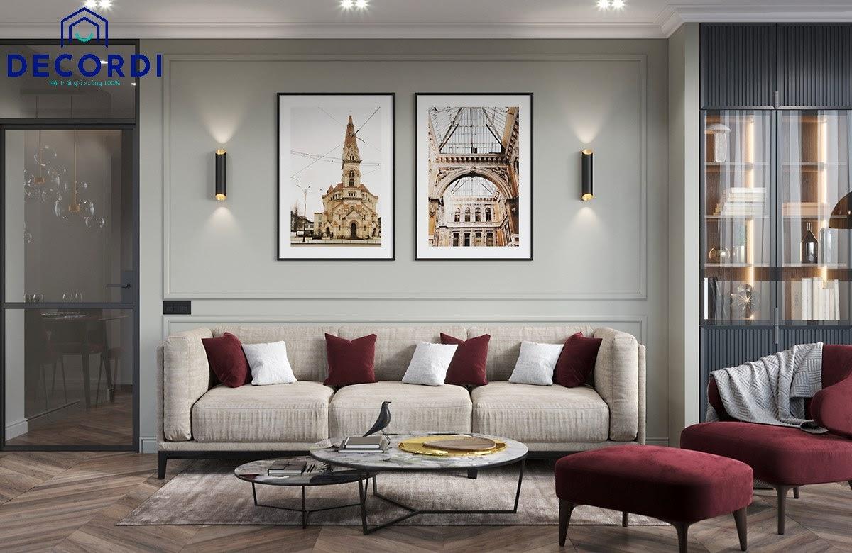 Không gian nội thất chung cư tân cổ điển với gam màu nổi bật