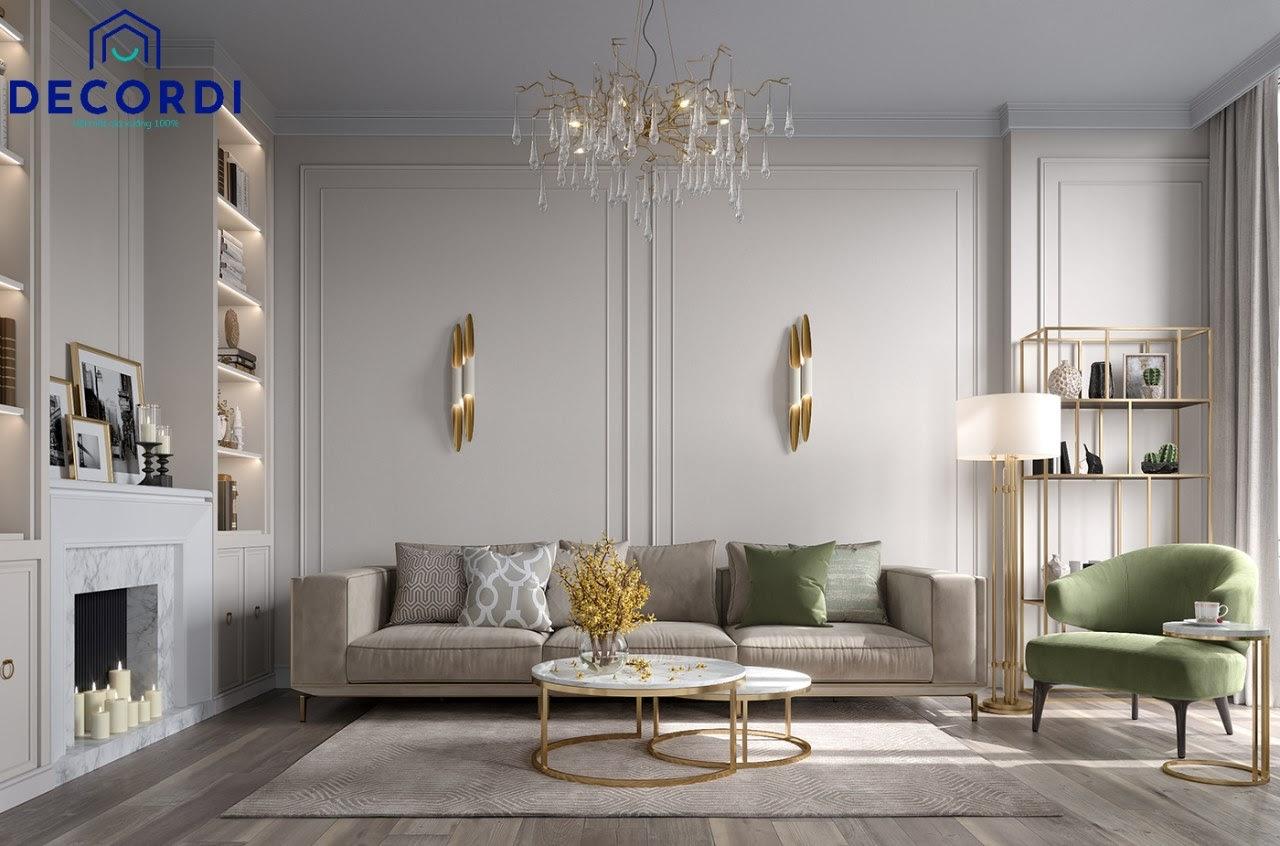 Đèn chùm pha lê cách điệu là phụ kiện không thể thiếu trong thiết kế nội thất chung cư tân cổ điển