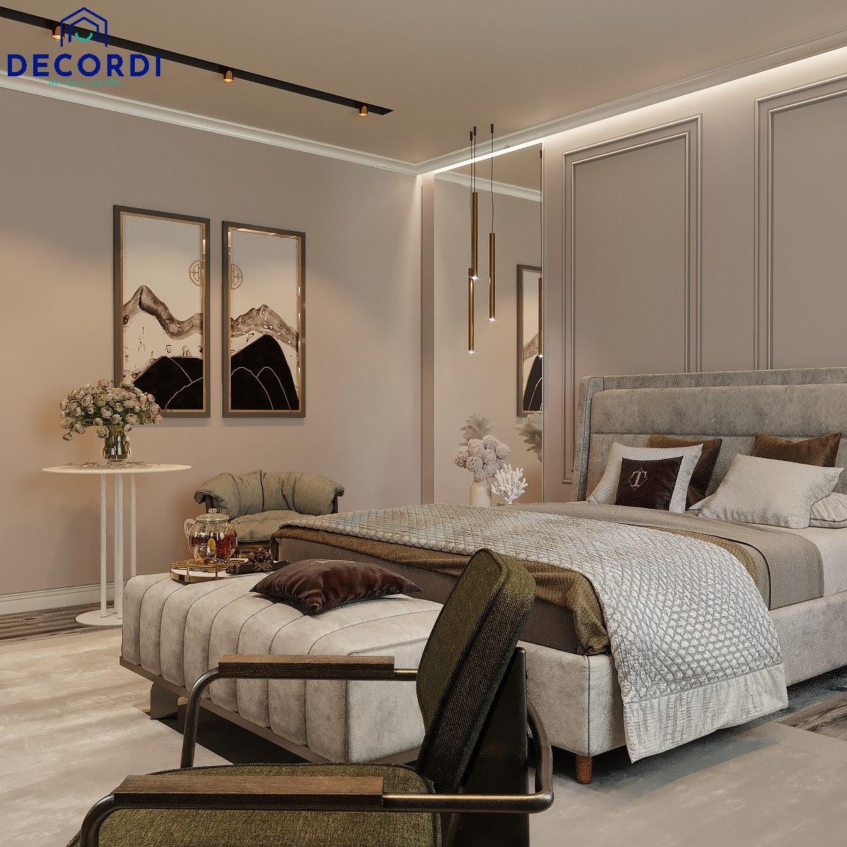 Phòng ngủ trở nên nhẹ nhàng thoải mái hơn nhờ sự tối giản nội thất trong thiết kế tân cổ điển
