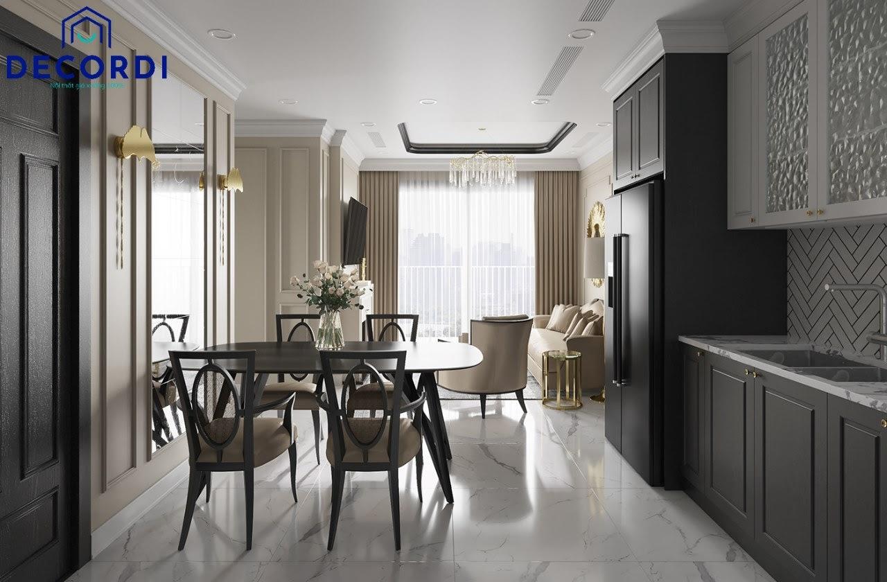 Thiết kế phòng khách liền bếp có bàn ăn tông màu lạnh sang trọng