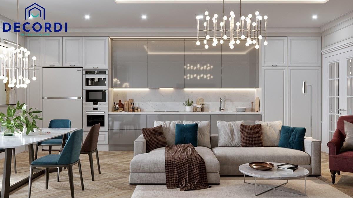 Không gian liền mạch trong thiết kế nội thất chung cư tân cổ điển có diện tích nhỏ